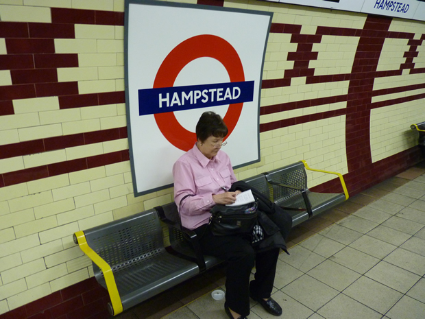 Waiting for the subway at Hampstead Station