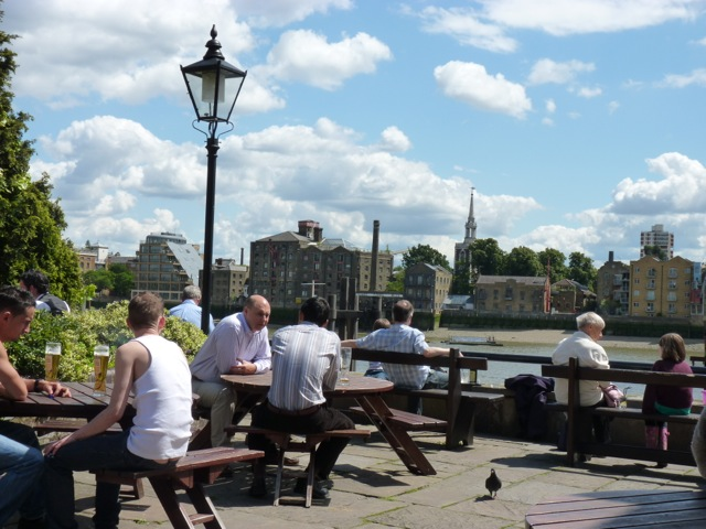 Grabbing a cold one at the Captain Kidd on the Thames in Wapping