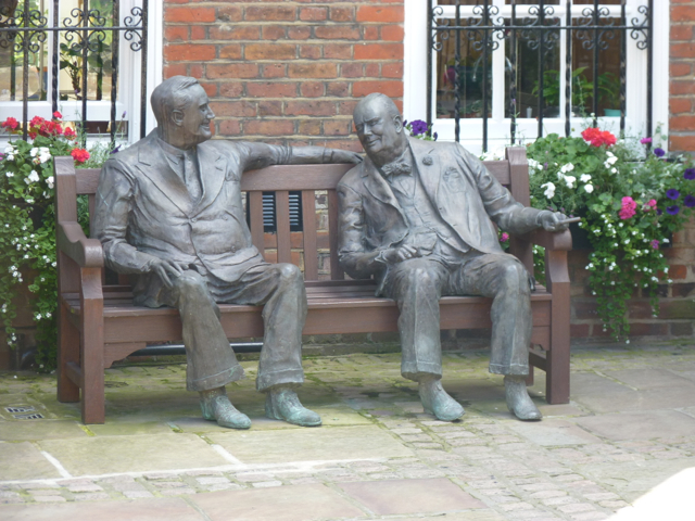 FDR and Winston Churchill statue in the backyard of a home in Hampstead.