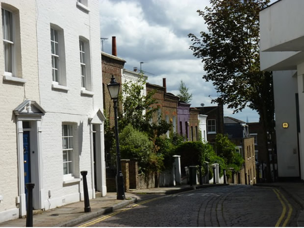 Street scene in Hampstead, London